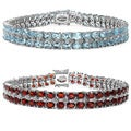 Malaika Sterling Silver 45 2/5ct TGW Gemstone and White Topaz Bracelet