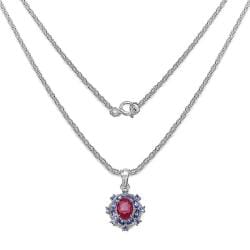 Malaika Sterling Silver 3 1/3ct TGW Ruby and Tanzanite Necklace