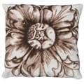 Brown Rosette Needlepoint Accent Pillow
