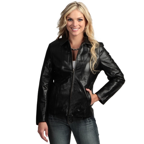 Tanners Avenue Women's Black Leather Fitted Jacket