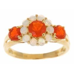 D'Yach 10k Yellow Gold Fire Opals and Australian Opals Flower ring