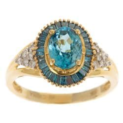 10k Yellow Gold Blue Zircon and 1/2ct TDW Diamond Ring (G-H, I1-I2)