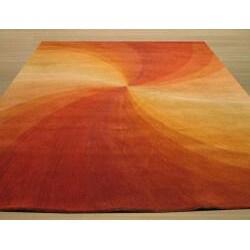 Hand-tufted Swirl Red Wool Rug (8'9 x 11'9)