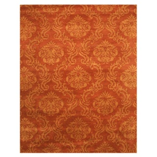 Hand-tufted Wool Orange Damask Mona Rug (5' x 8')
