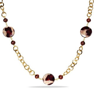 M by Miadora Goldtone Brown FW Pearl and Leopard Print Bead Necklace