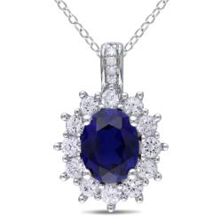 Miadora Silver 4ct TGW Multi-colored Created Sapphire and Diamond Accent Necklace