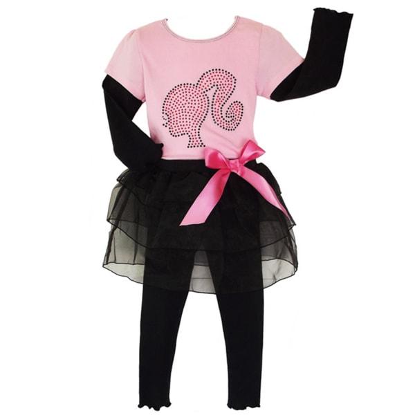 AnnLoren Girls' 2-piece Barbie Outfit with Tutu Leggings