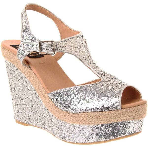 Fahrenheit Women's 'Layla-02' Silver Sparkle Platforms