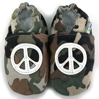 Peace Sign Soft Sole Leather Baby Shoes