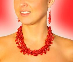 Luzy Coral and Glass Bead Necklace (Guatemala)