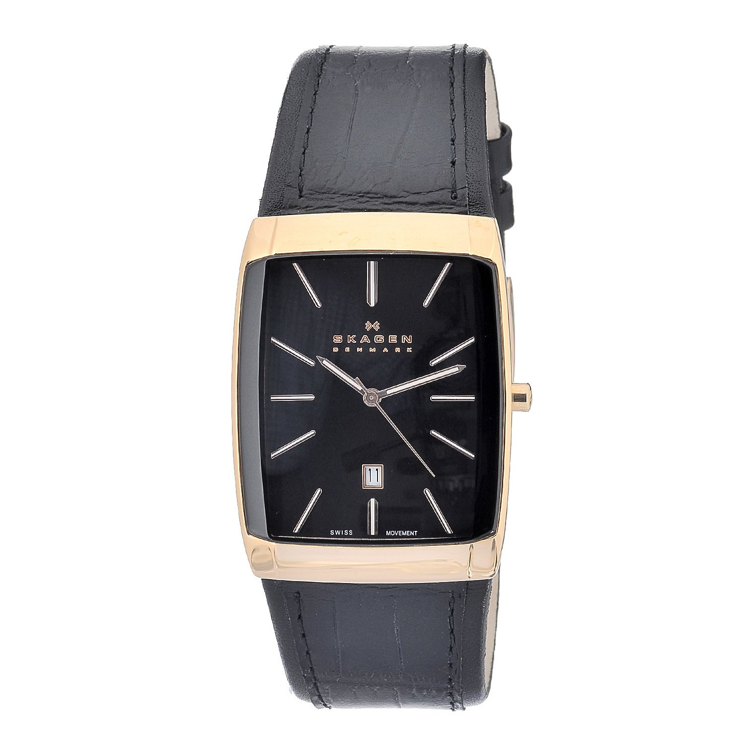 skagen s black and rosegold rectangle leather
