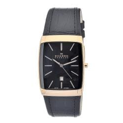 Skagen Men's Black and Rosegold Rectangle Case Leather Strap Watch