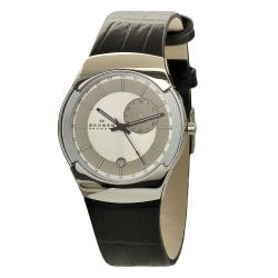 Skagen Men's Black Label Stainless Steel Black Leather Band Dual-Time Watch