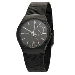 Skagen Men's Black Label Stainless Steel Black Mesh Band Watch