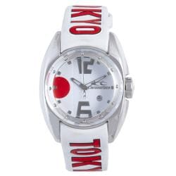 Chronotech Children's White Dial Leather Date Quartz Watch with Tokyo Strap