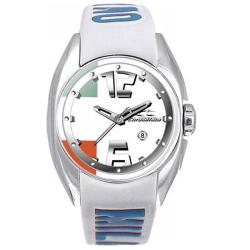 Chronotech Kids' White Dial Leather Date Quartz Watch with Milano Strap