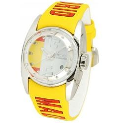 Chronotech Kids' White Dial Yellow Leather Date Quartz Watch