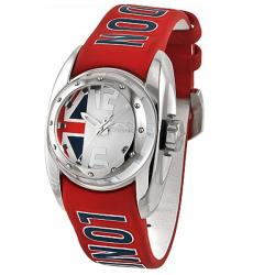 Chronotech Children's Silver Dial Red Leather Date Quartz Watch