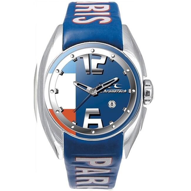 Chronotech Kids' Navy Blue Dial Leather Date Quartz Watch