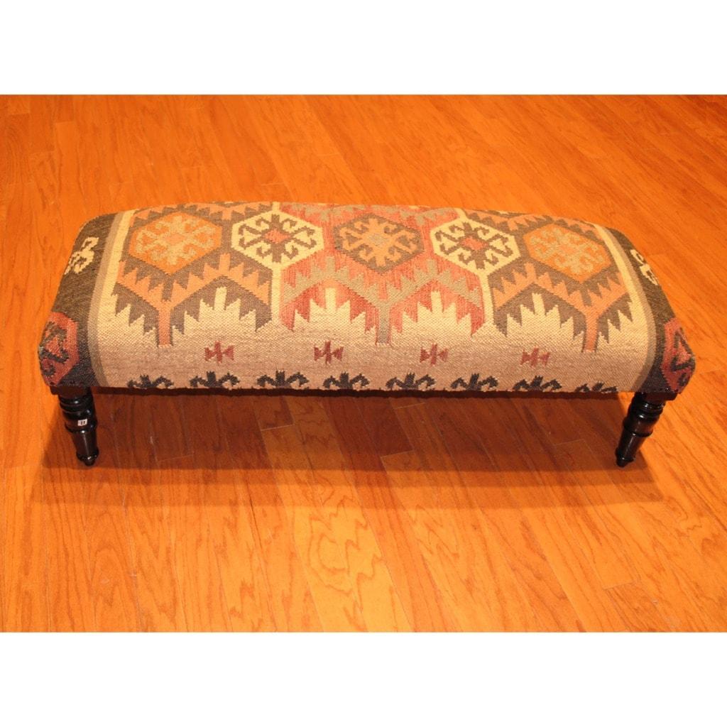 Herat Oriental Handmade Kilim Upholstered Bench (India)
