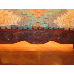 Handmade Kilim Upholstered Scroll Bench (India)