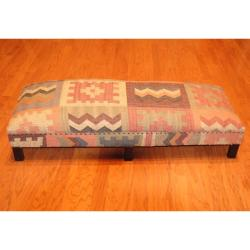 Handmade Kilim Upholstered Geometric Low Bench (India)