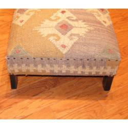 Handmade Kilim Upholstered Low Bench (India)