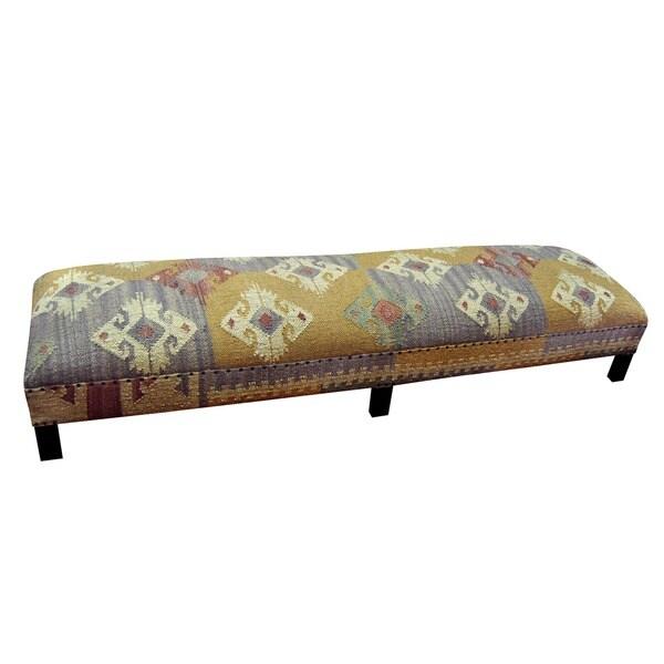 Handmade Herat Oriental Kilim Upholstered Low Bench (India)