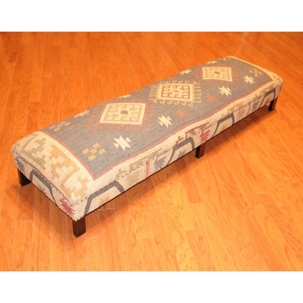 Herat Oriental Handmade Traditional Kilim-upholstered Sheesham Wood Low Bench (India)