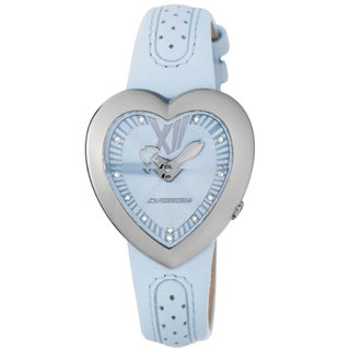 Chronotech Kids' Light Blue Dial Heart Shaped Leather Quartz Watch