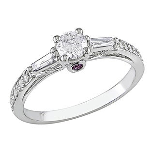 Miadora 14k White Gold 1/2ct TDW Diamond Engagement Ring with Pink Sapphire Accents (H-I, I2-I3)