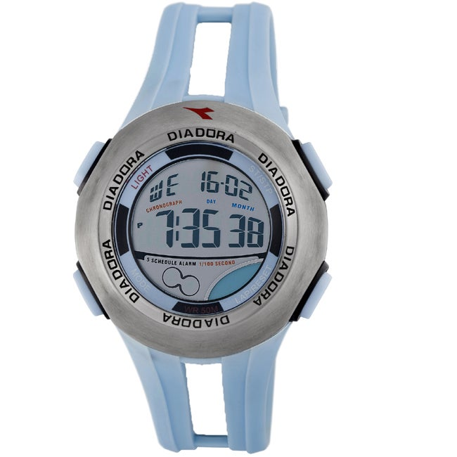 Diadora Men's Grey Dial Dual Time Display Rubber Digital Alarm Watch