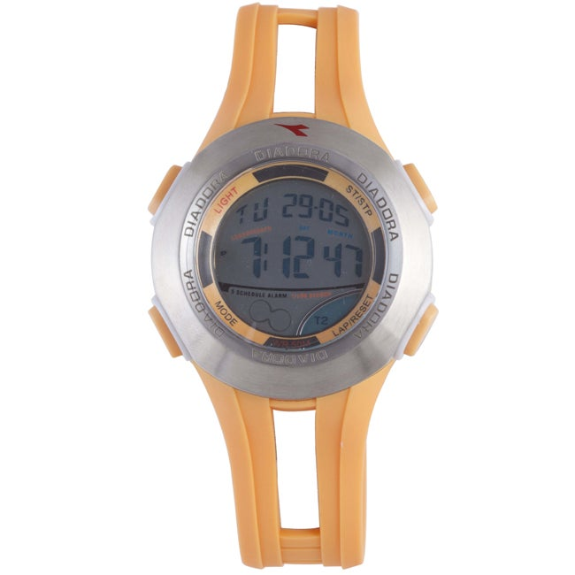 Diadora Men's Dual Time Display Gray-Dial Rubber-Case Digital Alarm Watch