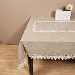 Saro Taupe Lace Trimmed Tablecloth