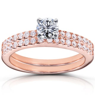 Annello  14k Rose Gold 3/4ct TDW Diamond Bridal Rings Set (H-I, I1-I2)