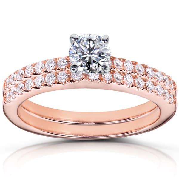 Annello 14k Rose Gold 3/4ct TDW Diamond Bridal Rings Set (H-I, I1-I2)
