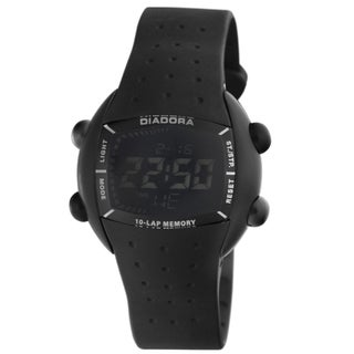 Diadora Men's Black Dial Black Rubber Digital Date Watch
