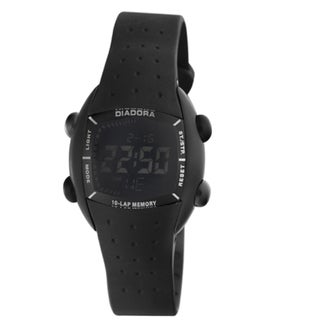 Diadora Women's Black Dial Black Rubber Digital Date Watch
