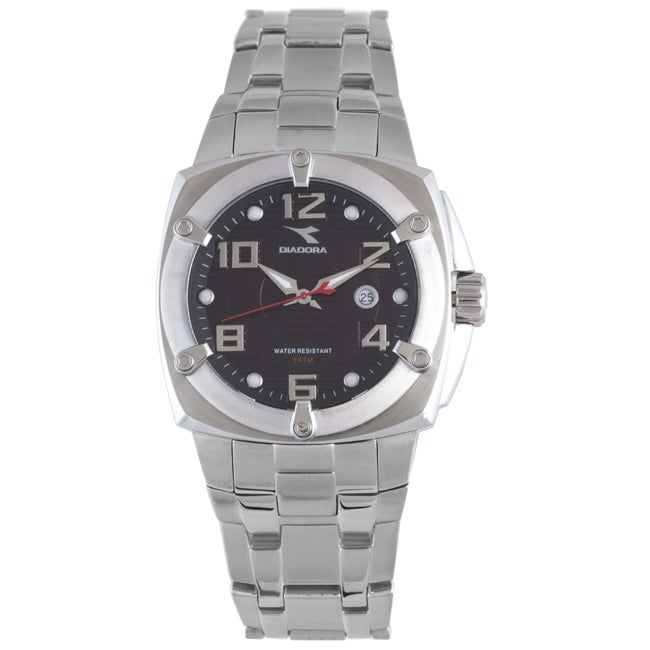 Diadora Men's Black Dial Stainless Steel Date Watch