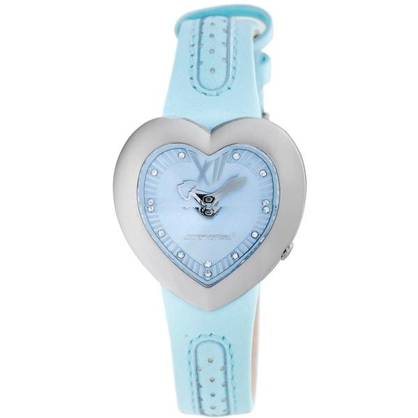 Chronotech Kids' Heart Shaped Light Blue Dial Leather Quartz Watch 9234756