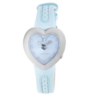 Chronotech Kids' Heart Shaped Light Blue Dial Leather Quartz Watch