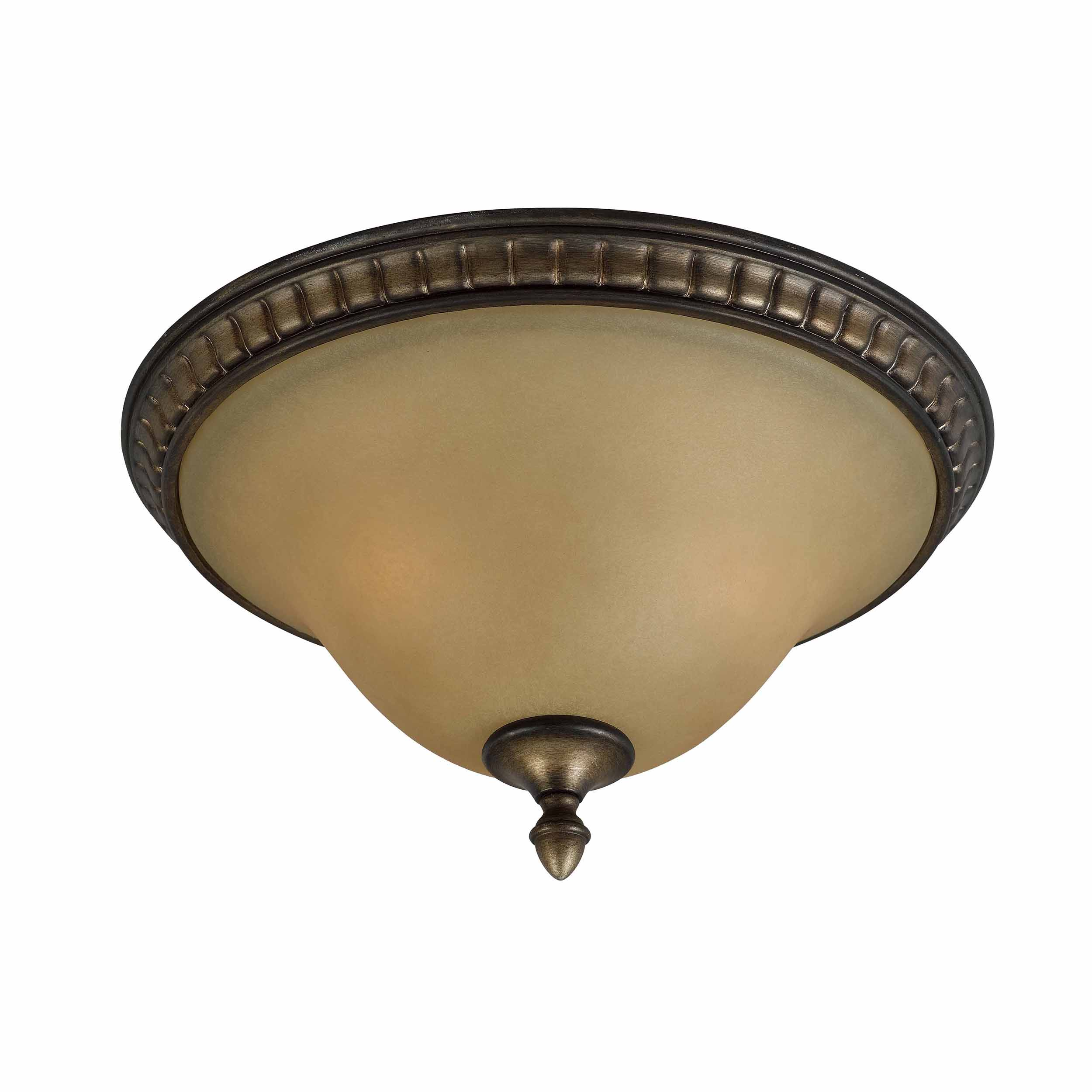 Traditional 2 light Flushmount in Platinum Bronze