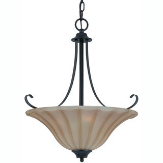 Transitional 3 light Pendant in Bronze finish