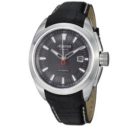 Alpina Men's 'Club' Black-Dial Stainless-Steel Black Leather Strap Automatic Watch