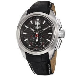 Alpina Men's AL-353B4RC6 'Club' Grey Dial Black Leather Strap Quartz Watch