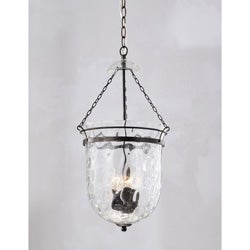 Antique Copper Finish Waved Glass Lantern Chandelier