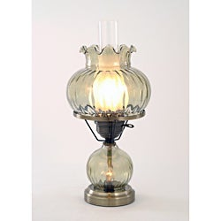 Hurricane With Rhombus Optic Green Glass Lamp