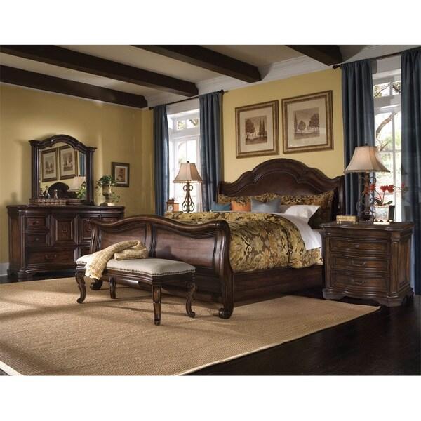Coronado 5-piece Queen-size Leather Sleigh Bedroom Set