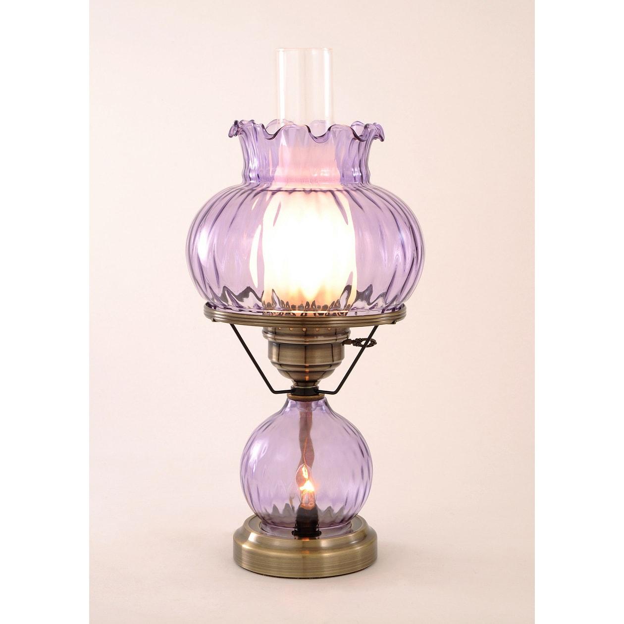 hurricane with rhombus optic violet glass lamp 14339882 overstock. Black Bedroom Furniture Sets. Home Design Ideas
