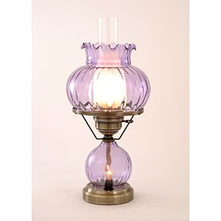 Hurricane With Rhombus Optic Violet Glass Lamp